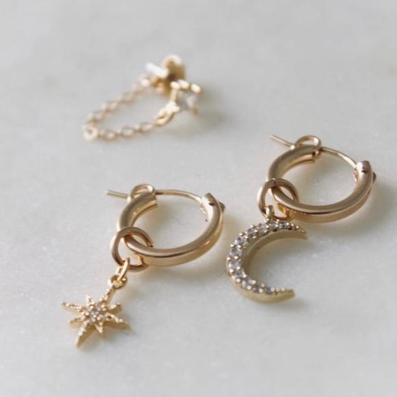 Moon + Diamonds Hoop Earrings